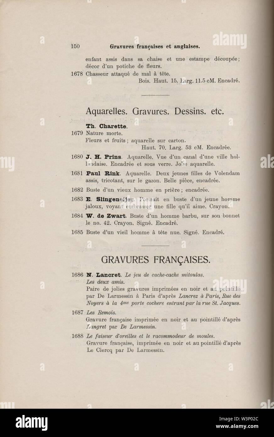 Collections F.W. Ross, La Haye, A. Durand, Paris et al., p 150. - Stock Image