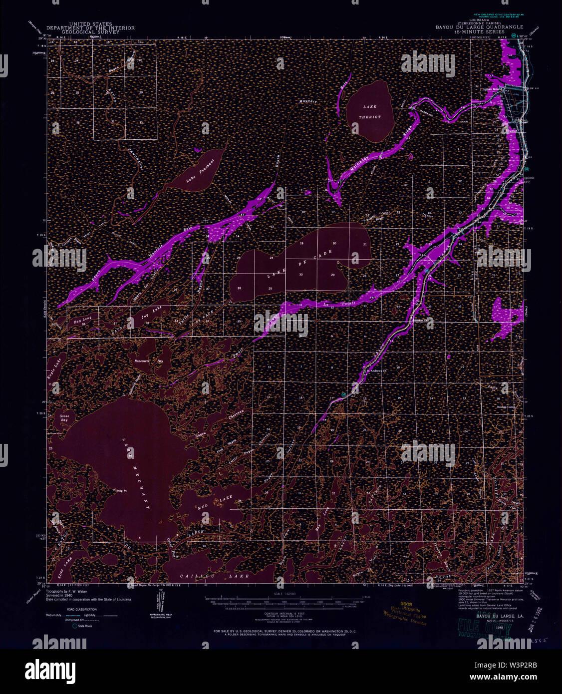 USGS TOPO Map Louisiana LA Bayou Du Large 334263 1940 62500 Inverted Restoration - Stock Image