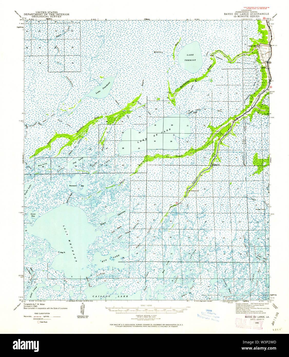 USGS TOPO Map Louisiana LA Bayou Du Large 334263 1940 62500 Restoration - Stock Image
