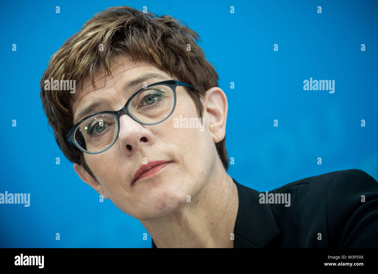 Berlin, Germany. 03rd June, 2019. Annegret Kramp-Karrenbauer, federal chairman of the CDU, will speak at a press conference after the two-day CDU board meeting. Kramp-Karrenbauer surprisingly becomes new Defense Minister. Credit: Michael Kappeler/dpa/Alamy Live News - Stock Image