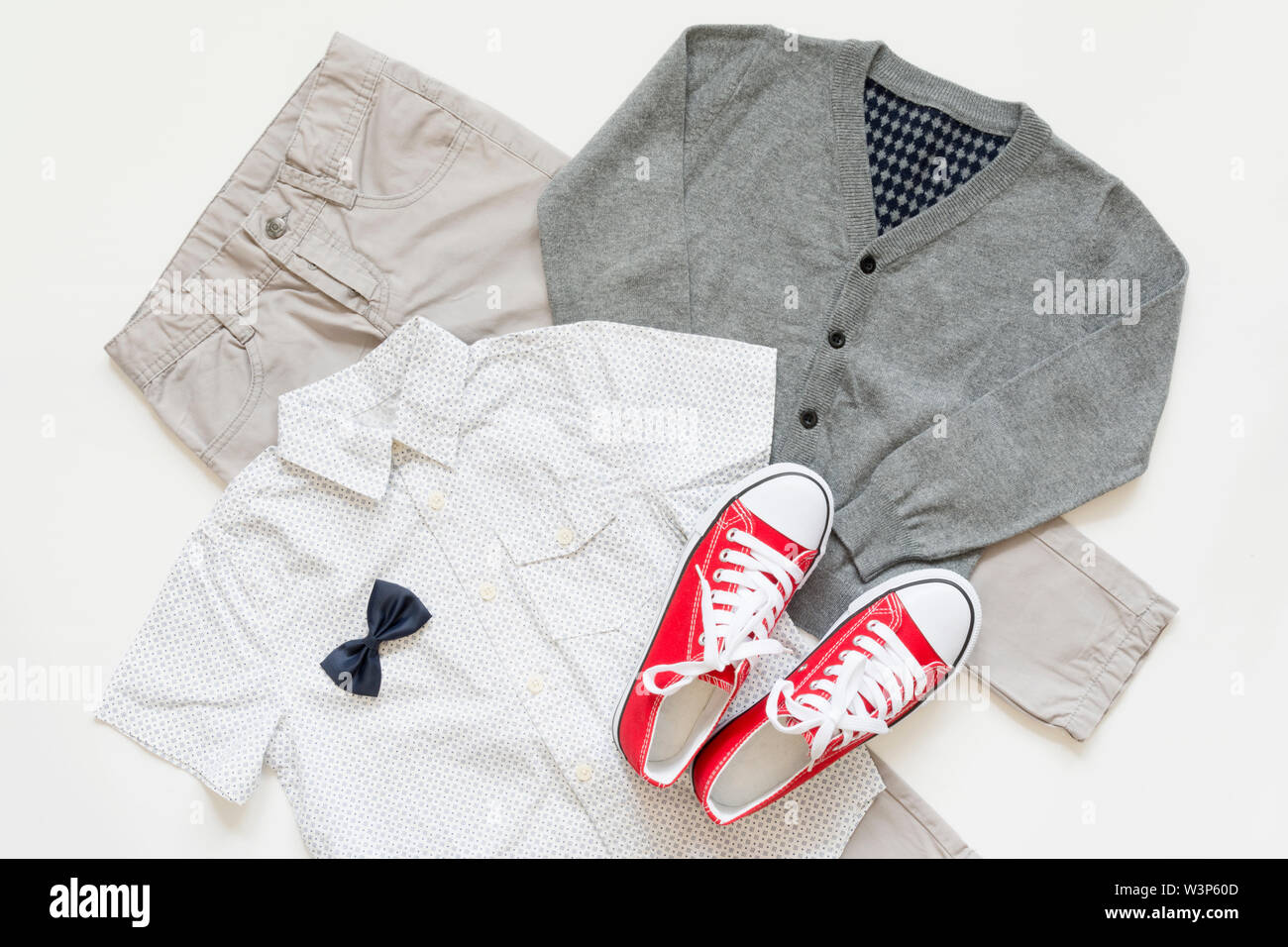 Set of trendy fashion male clothing elements isolated on white, school concept uniform. Back to school concept - Stock Image