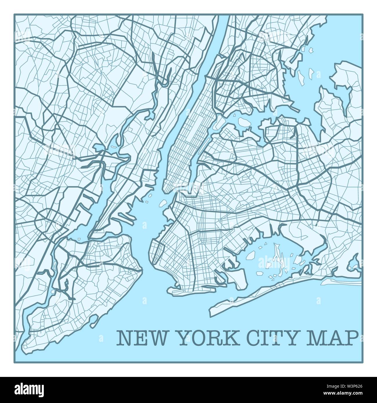 New York city map poster blue colors - Stock Vector