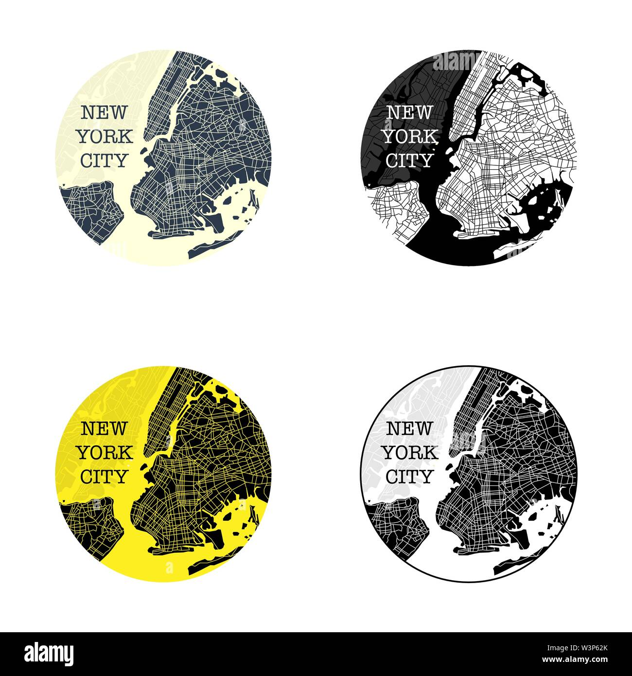 Set of four different circle New York city map symbols - Stock Vector