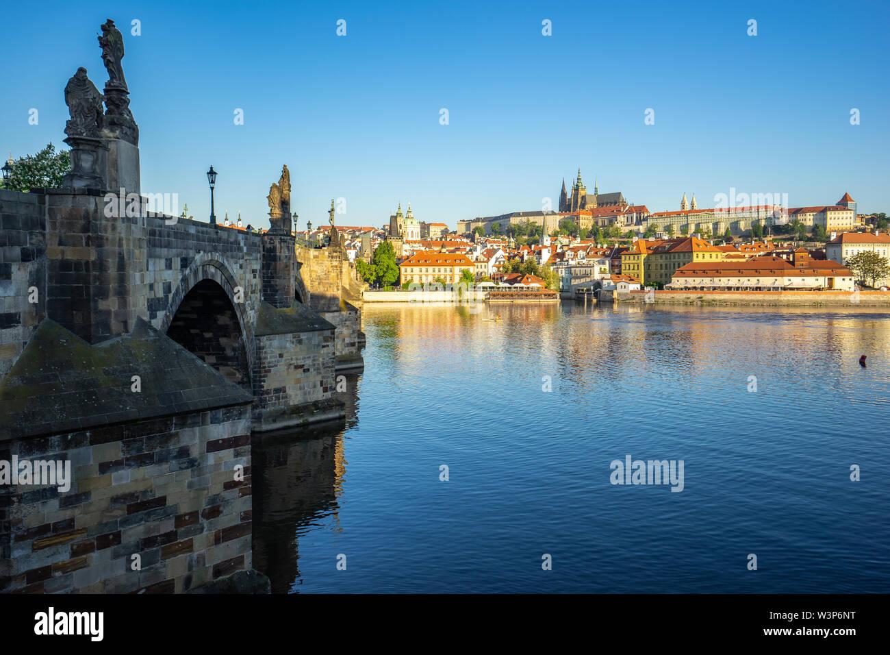 Charles Bridge with Prague city skyline in Prague, Czech Republic. - Stock Image