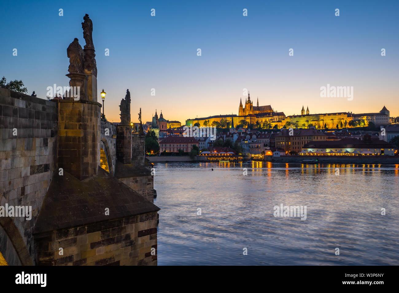 Sunset view of Prague skyline in Czech Republic. - Stock Image