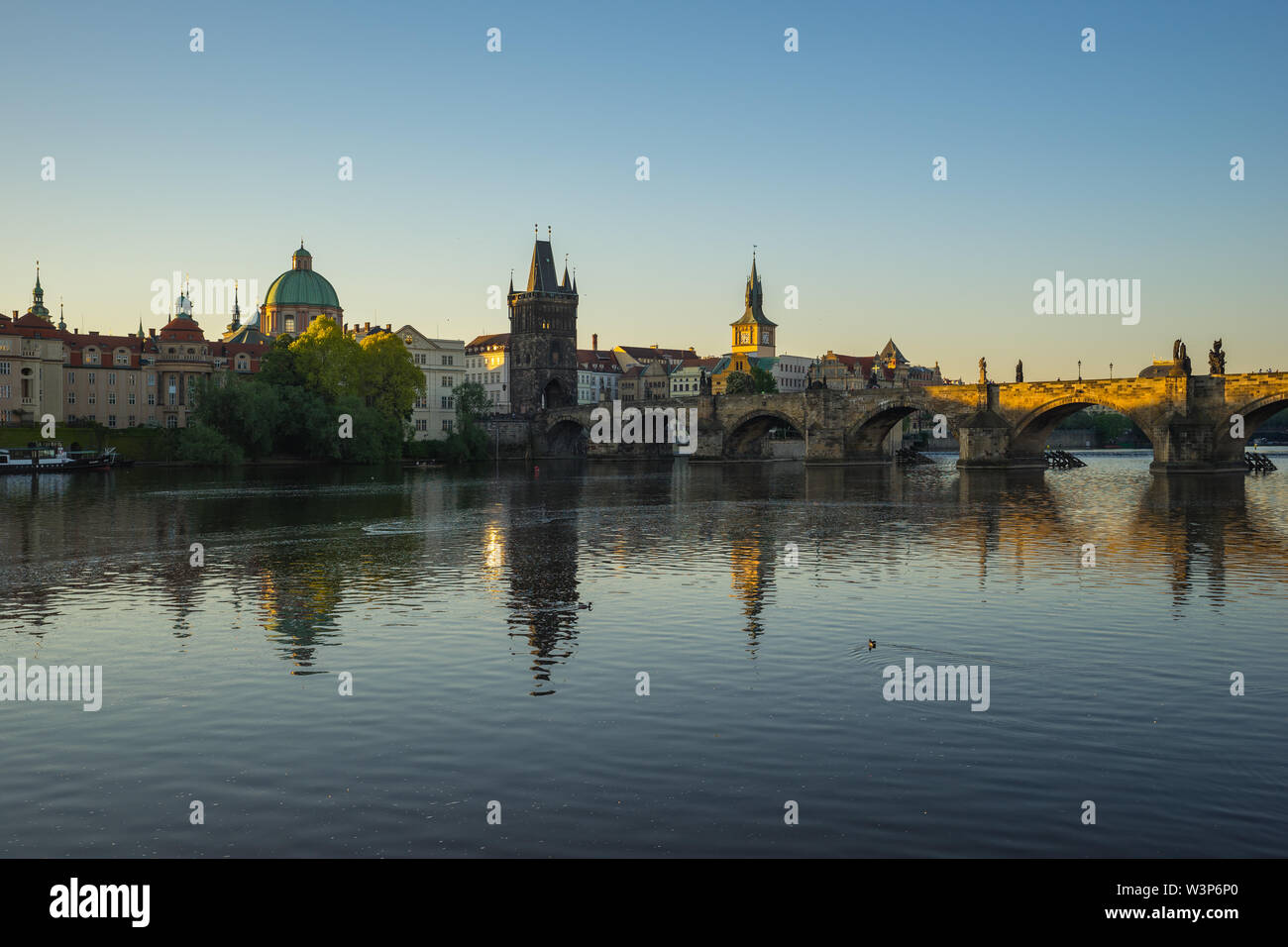 Prague city skyline with Charles Bridge in Czech Republic. - Stock Image