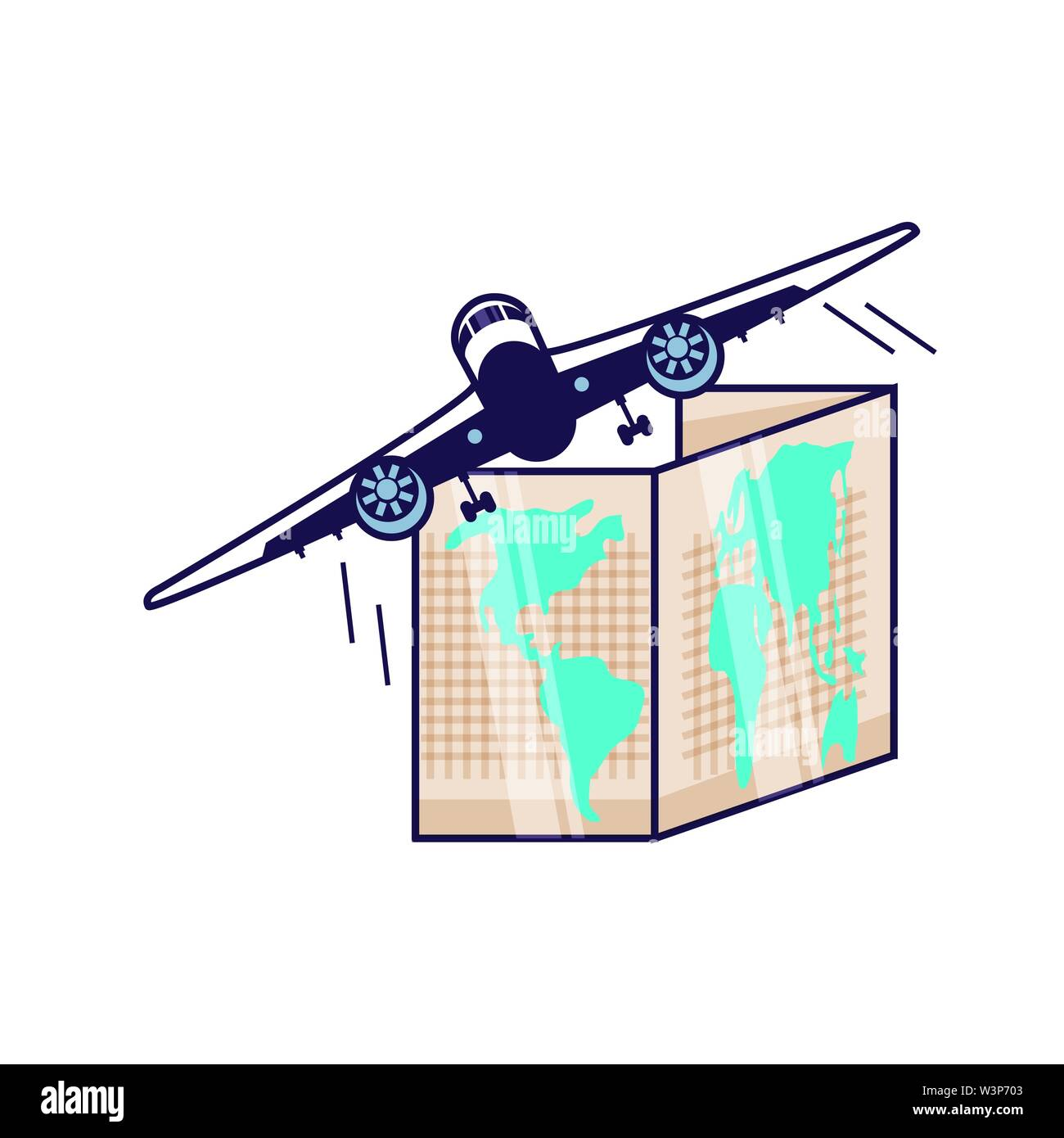 paper map travel guide with airplane vector illustration design - Stock Image