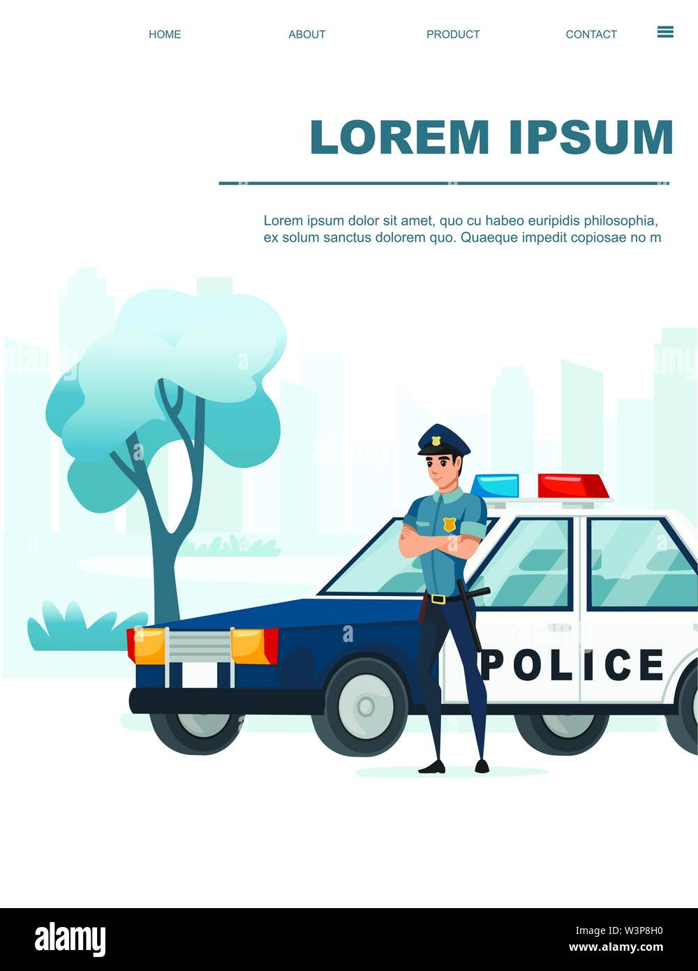 Police Car Website >> Cartoon Design Police Car And Police Officer Stay On