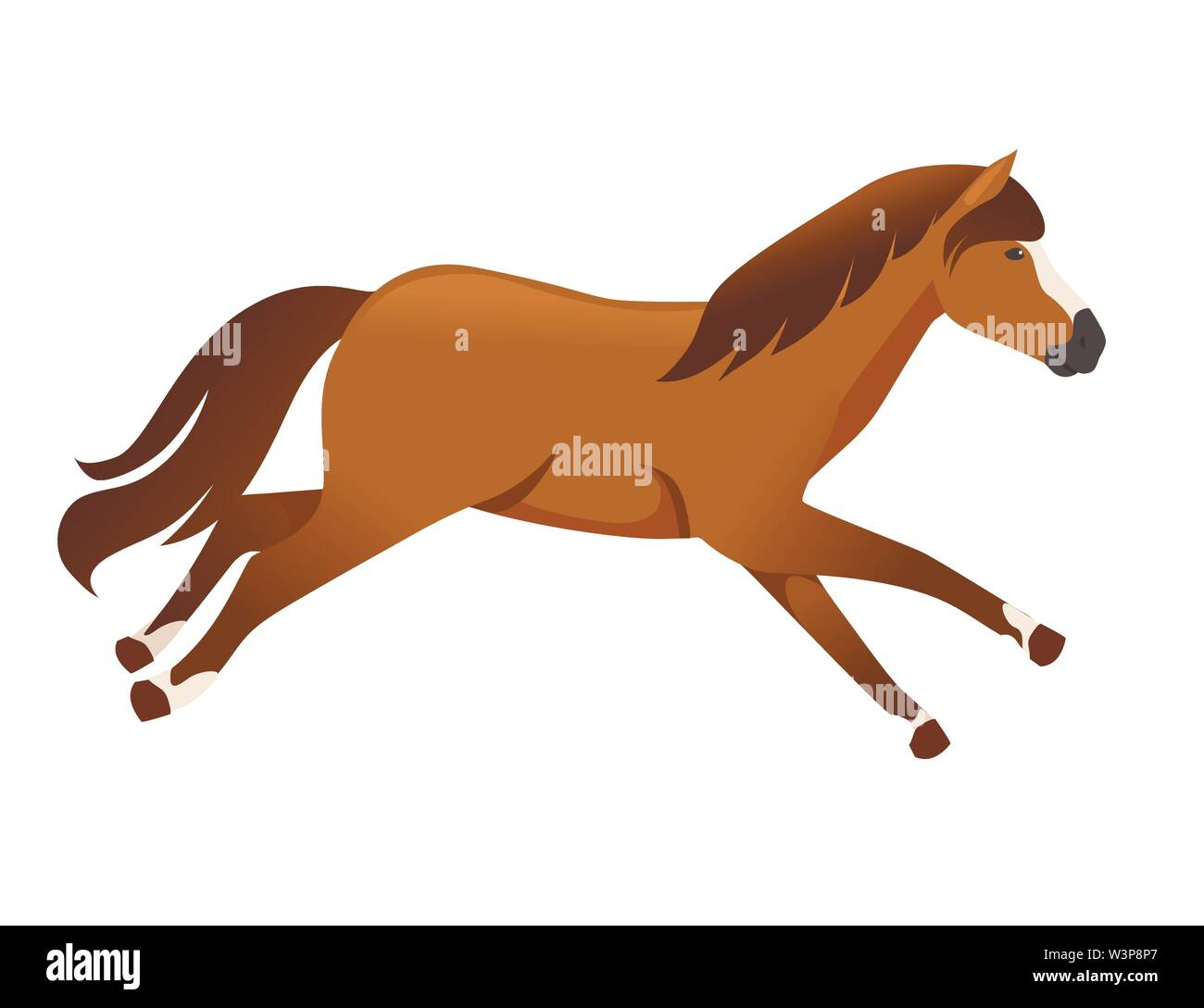 Brown Horse Wild Or Domestic Animal Running Cartoon Design Flat Vector Illustration Isolated On White Background Stock Vector Image Art Alamy