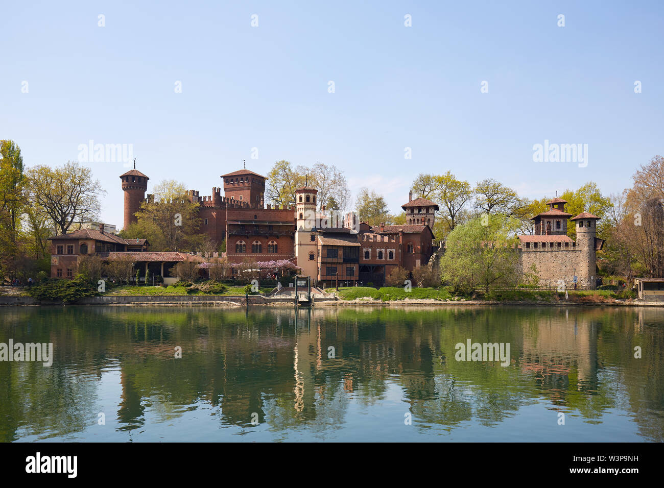 TURIN, ITALY - MARCH 31, 2019: Borgo medievale, medieval village and castle with Po river in a sunny spring day, clear blue sky in Piedmont, Turin, It Stock Photo