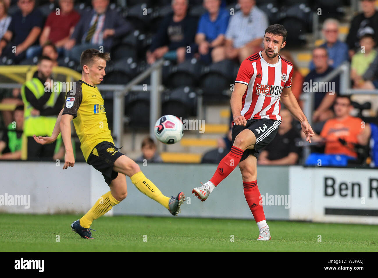 16th July 2019, Pirelli Stadium, Burton upon Trent, England; Pre-Season friendly, Burton Albion vs Sheffield United : Enda Stevens of Sheffield United clears the ball  Credit: Mark Cosgrove/News Images  English Football League images are subject to DataCo Licence - Stock Image