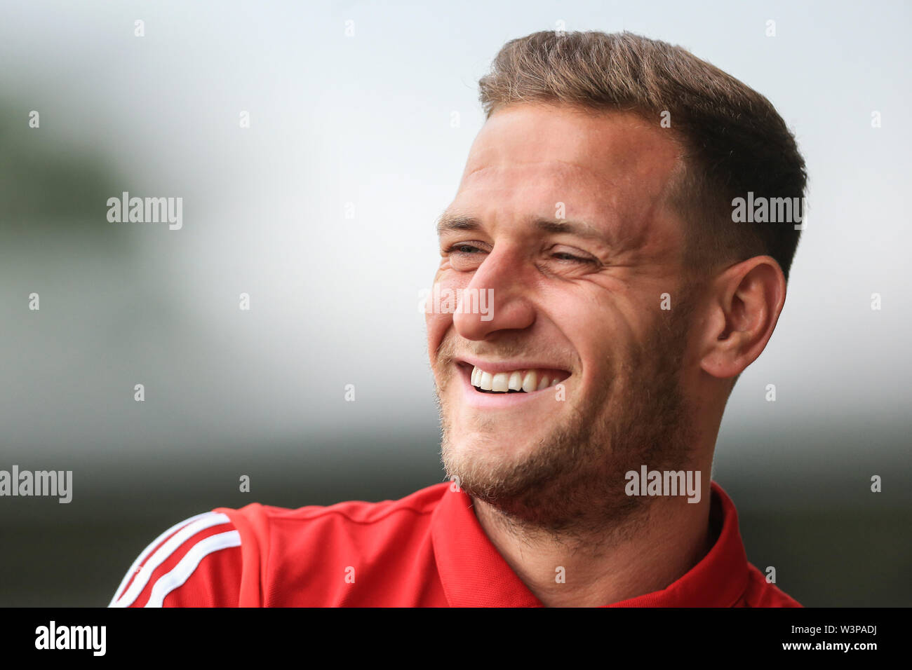 16th July 2019, Pirelli Stadium, Burton upon Trent, England; Pre-Season friendly, Burton Albion vs Sheffield United : Billy Sharp of Sheffield United full of smiles before kickoff  Credit: Mark Cosgrove/News Images  English Football League images are subject to DataCo Licence - Stock Image