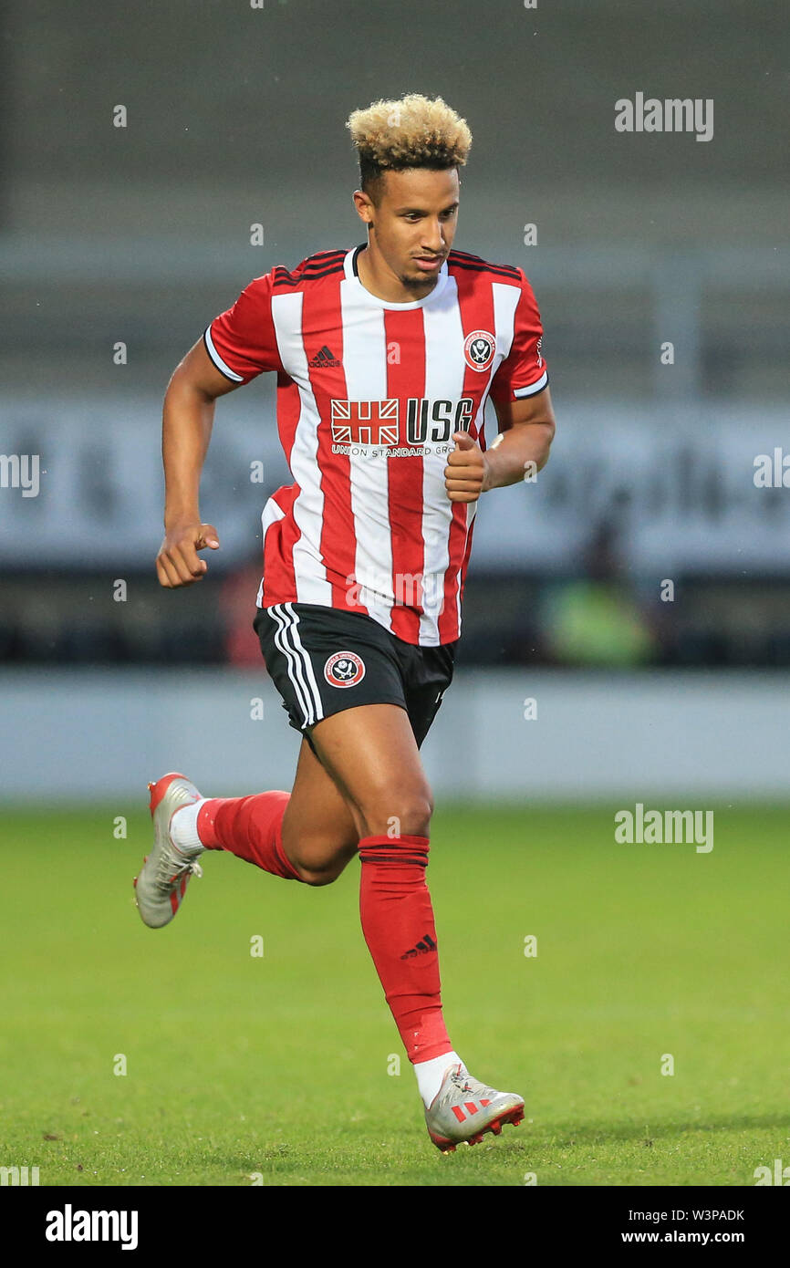 16th July 2019, Pirelli Stadium, Burton upon Trent, England; Pre-Season friendly, Burton Albion vs Sheffield United : Callum Robinson of Sheffield United during the game Credit: Mark Cosgrove/News Images  English Football League images are subject to DataCo Licence - Stock Image