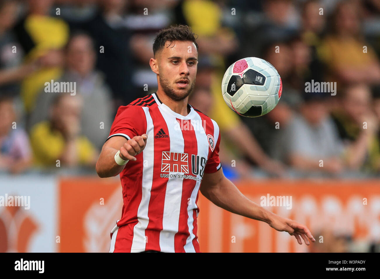 16th July 2019, Pirelli Stadium, Burton upon Trent, England; Pre-Season friendly, Burton Albion vs Sheffield United : George Baldock of Sheffield United during the game Credit: Mark Cosgrove/News Images  English Football League images are subject to DataCo Licence - Stock Image
