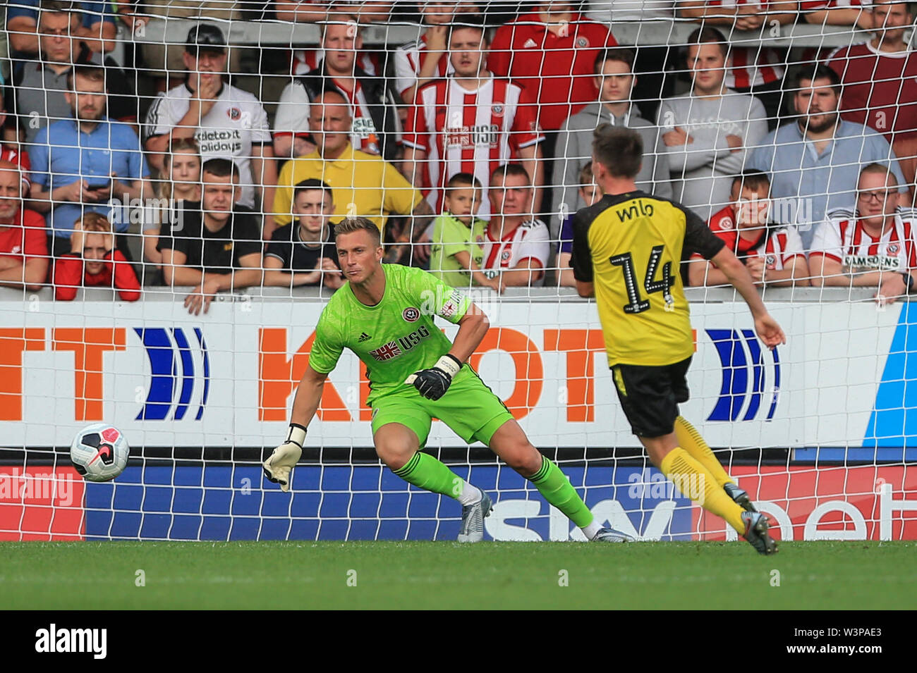 16th July 2019, Pirelli Stadium, Burton upon Trent, England; Pre-Season friendly, Burton Albion vs Sheffield United : Joe Sbarra of Burton Albion shoots and beats Goal keeper Simon Moore of Sheffield United but it goes wide  Credit: Mark Cosgrove/News Images  English Football League images are subject to DataCo Licence - Stock Image