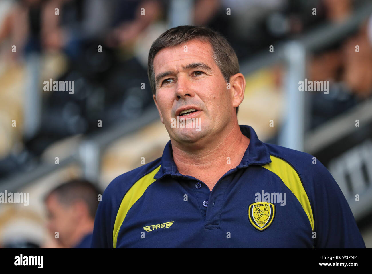16th July 2019, Pirelli Stadium, Burton upon Trent, England; Pre-Season friendly, Burton Albion vs Sheffield United : Nigel Clough Manager of Burton Albion before kickoff Credit: Mark Cosgrove/News Images  English Football League images are subject to DataCo Licence - Stock Image