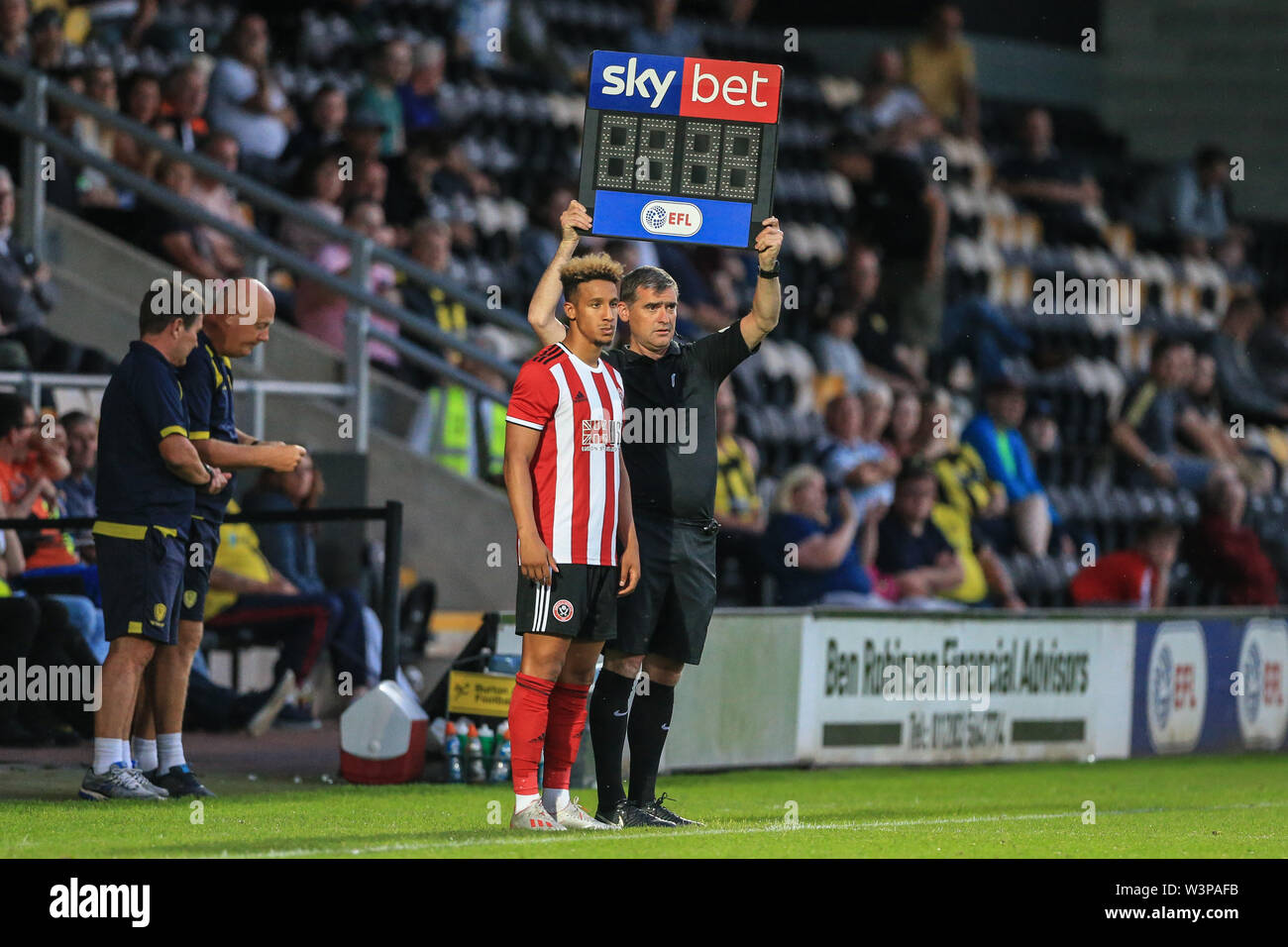 16th July 2019, Pirelli Stadium, Burton upon Trent, England; Pre-Season friendly, Burton Albion vs Sheffield United : Callum Robinson of Sheffield United prepares to come on for Billy Sharp Credit: Mark Cosgrove/News Images  English Football League images are subject to DataCo Licence - Stock Image