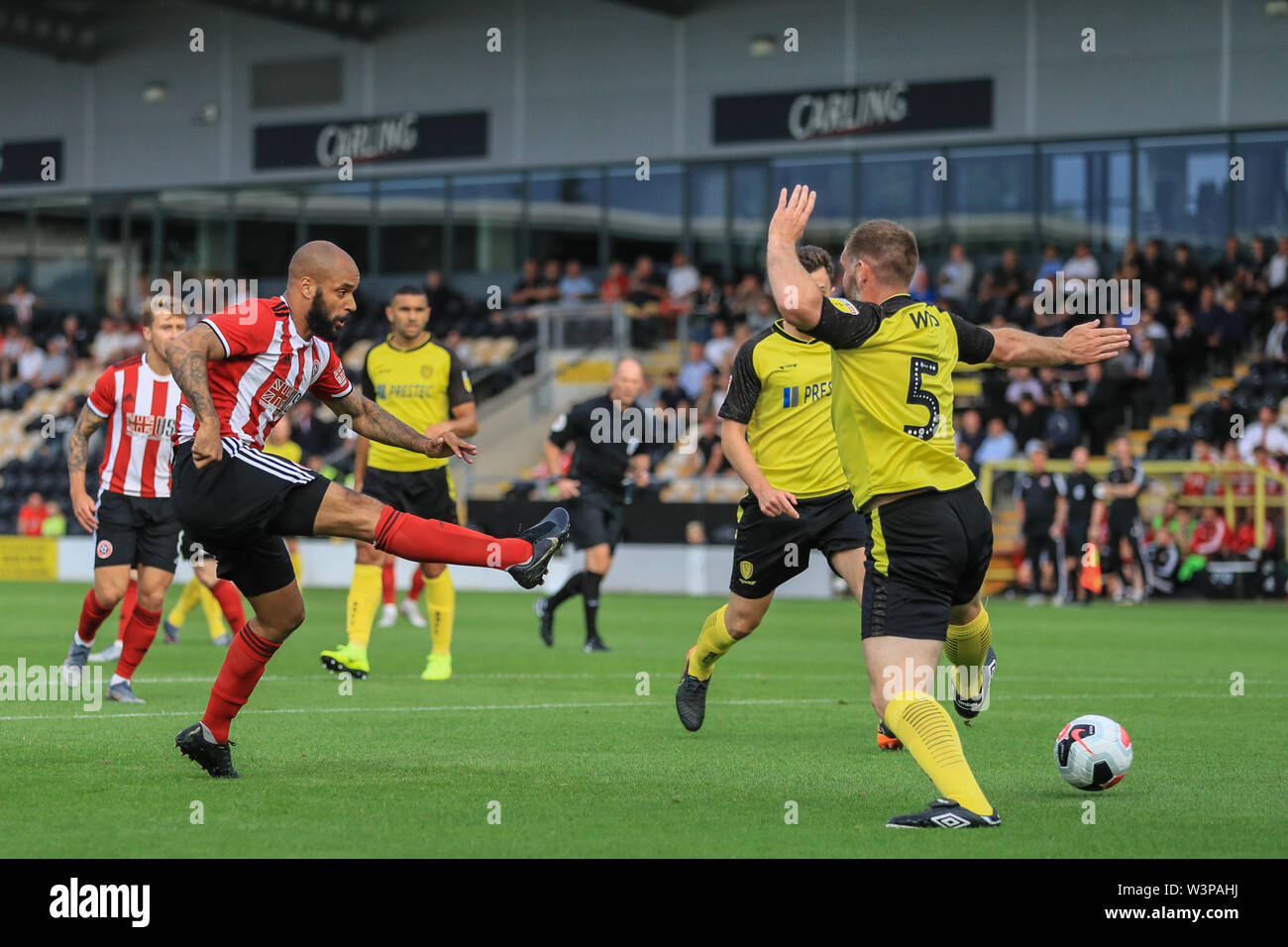 16th July 2019, Pirelli Stadium, Burton upon Trent, England; Pre-Season friendly, Burton Albion vs Sheffield United : David McGoldrick of Sheffield United shoots on goal and it hits the post and goes wide  Credit: Mark Cosgrove/News Images  English Football League images are subject to DataCo Licence - Stock Image
