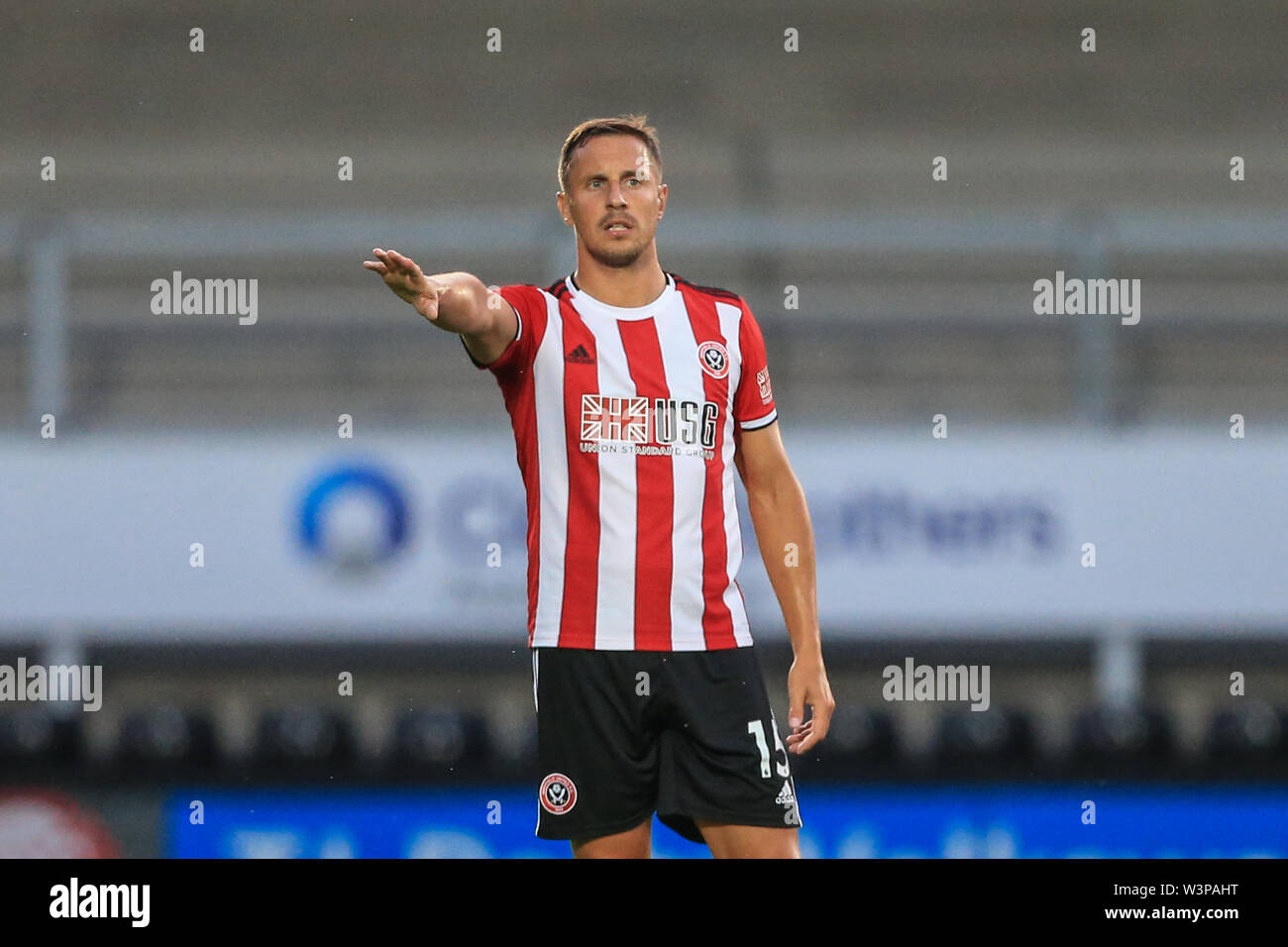 16th July 2019, Pirelli Stadium, Burton upon Trent, England; Pre-Season friendly, Burton Albion vs Sheffield United : Phil Jagielka of Sheffield United gives his team instructions  Credit: Mark Cosgrove/News Images  English Football League images are subject to DataCo Licence - Stock Image