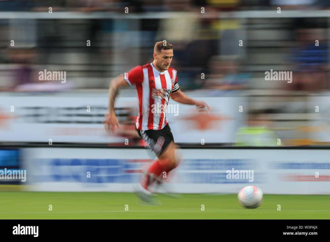 16th July 2019, Pirelli Stadium, Burton upon Trent, England; Pre-Season friendly, Burton Albion vs Sheffield United : Billy Sharp of Sheffield United makes a break Credit: Mark Cosgrove/News Images  English Football League images are subject to DataCo Licence - Stock Image