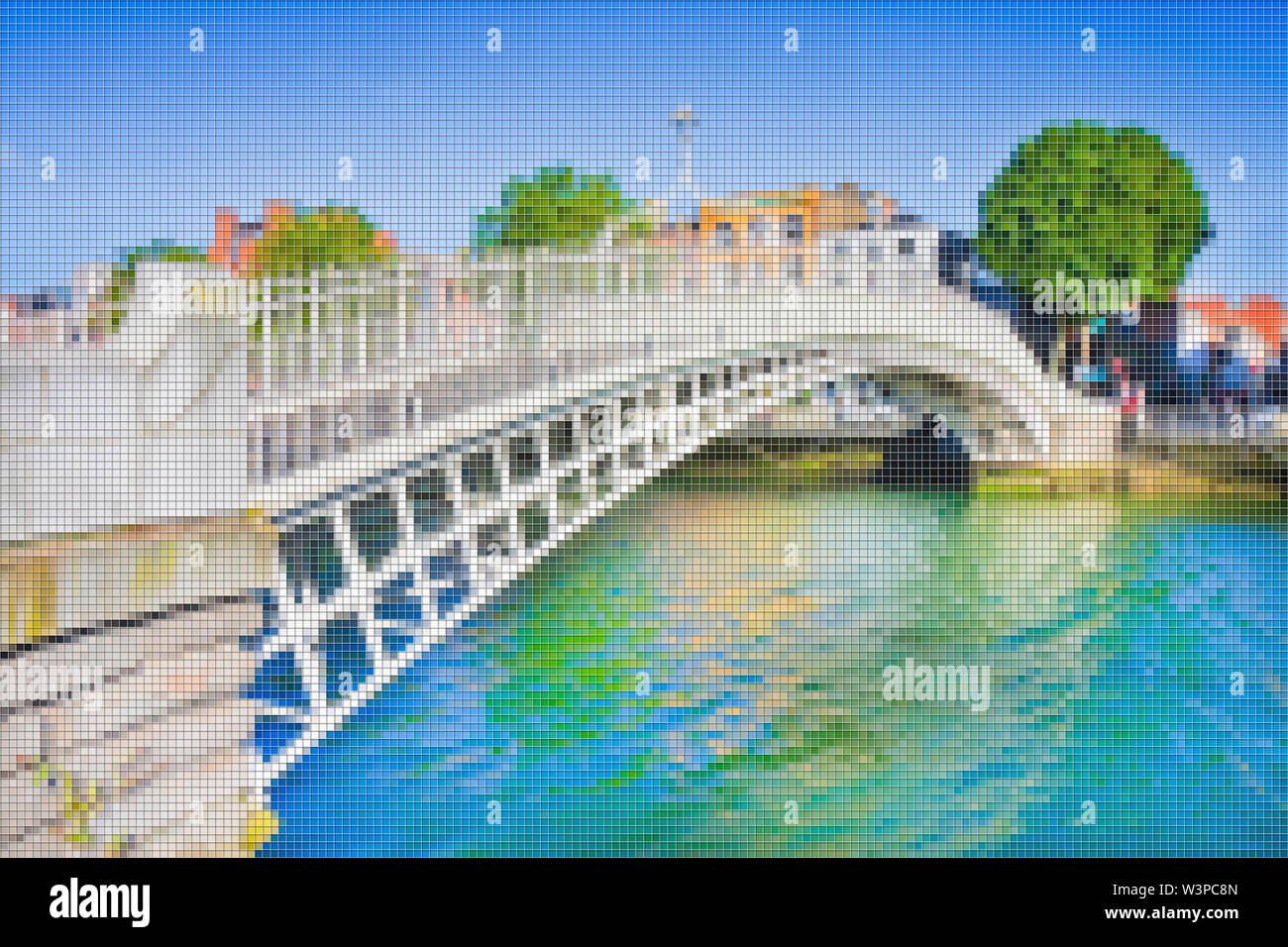 The most famous bridge in Dublin called 'Half penny bridge' due to the toll charged for the passage - Concept image with pixelation effect - Stock Image
