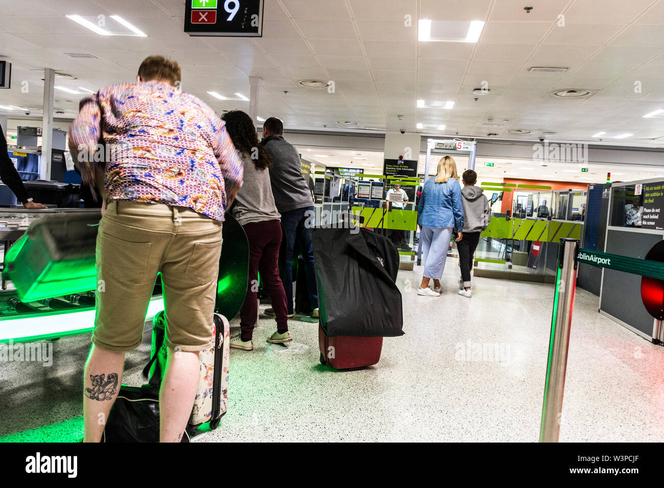 Dublin Airport, Terminal One, security screening area. Ireland - Stock Image