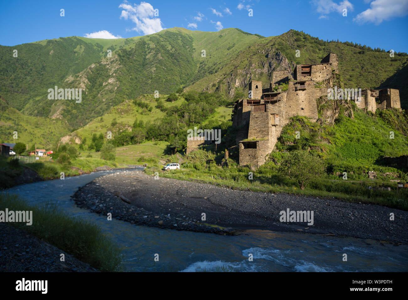 Shatili medieval fortress in Khevsureti. Nothern Georgia - Stock Image