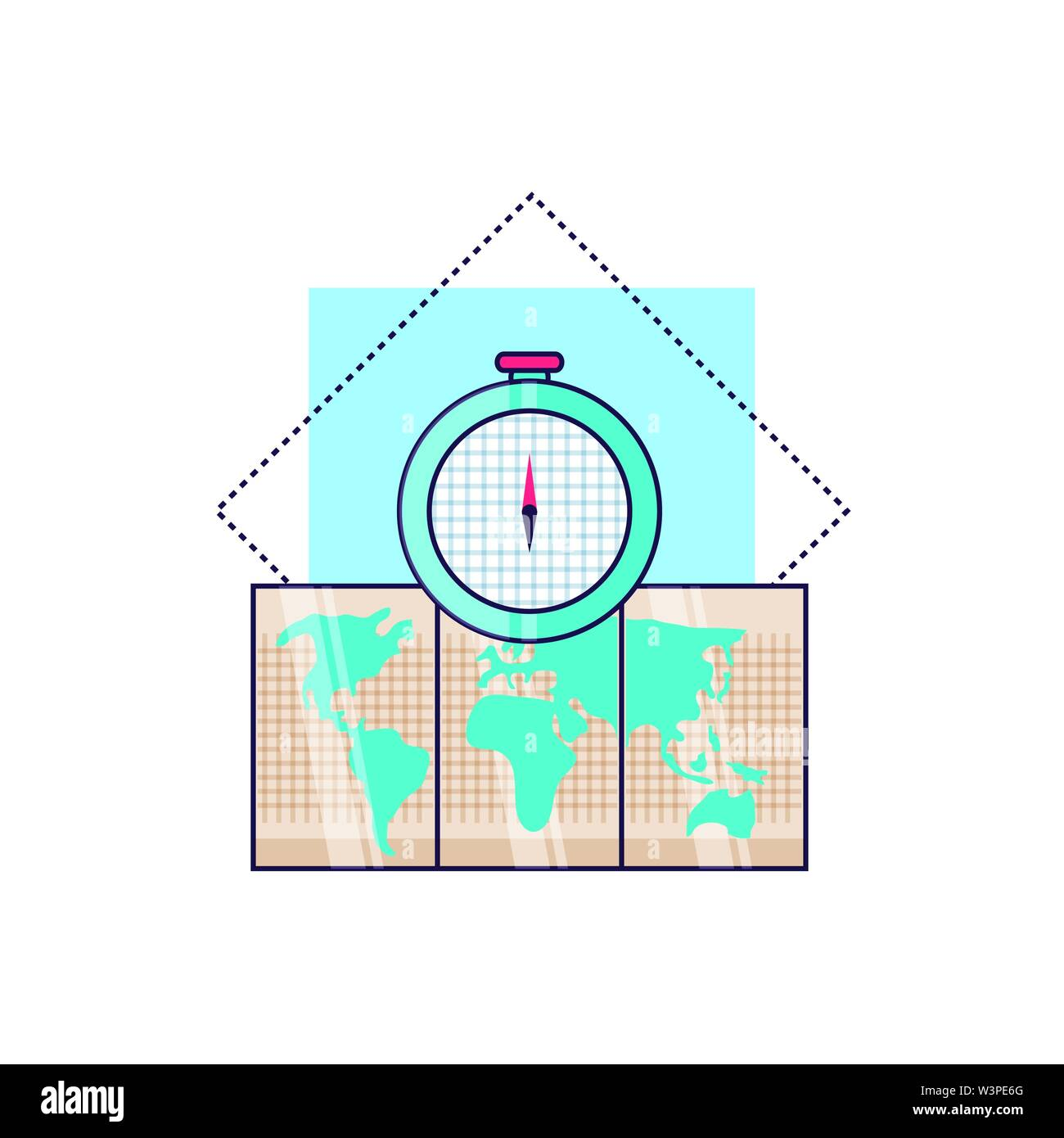 compass guide device with paper map vector illustration design - Stock Vector