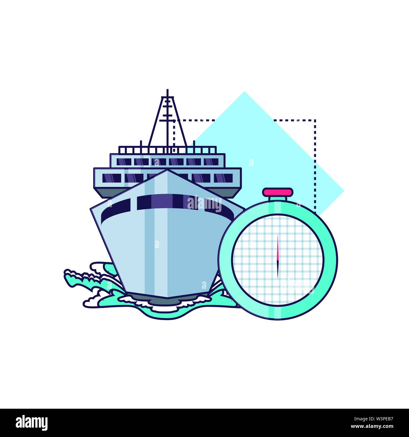 ship cruise boat with compass guide vector illustration design - Stock Image