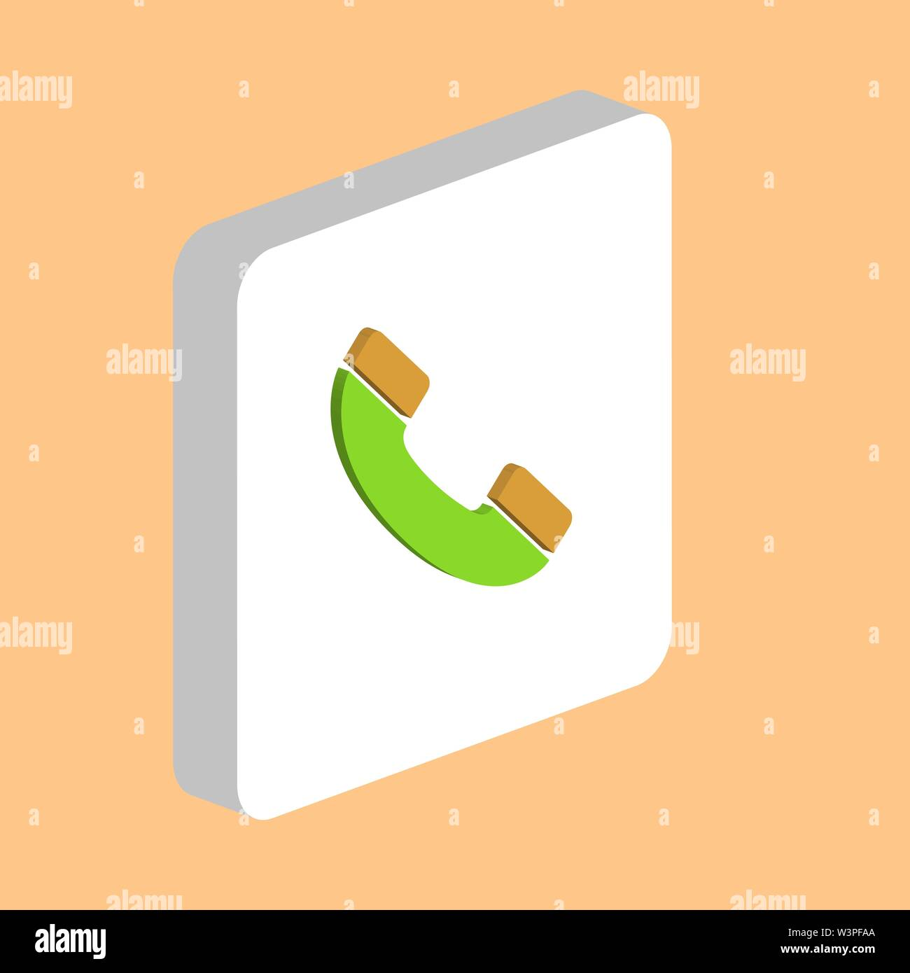 Handset, Phone Simple vector icon. Illustration symbol design template for web mobile UI element. Perfect color isometric pictogram on 3d white square - Stock Image