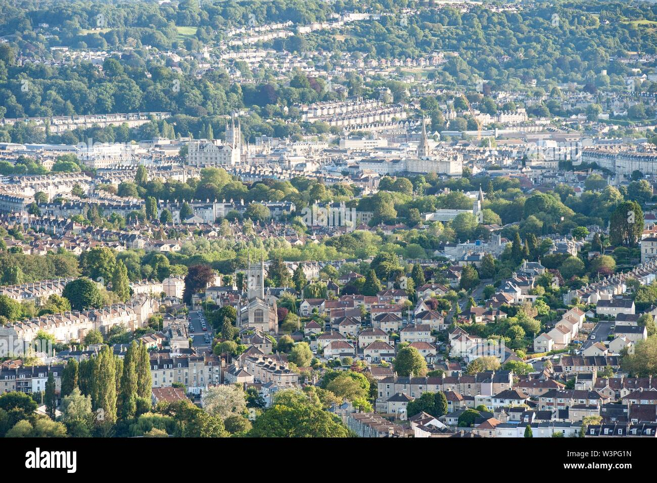 Bath, Somerset, UK. 7th July 2019.  View of Bath and Larkhall in foreground from Little Solsbury Hill in Batheaston, Somerset, UK. Stock Photo