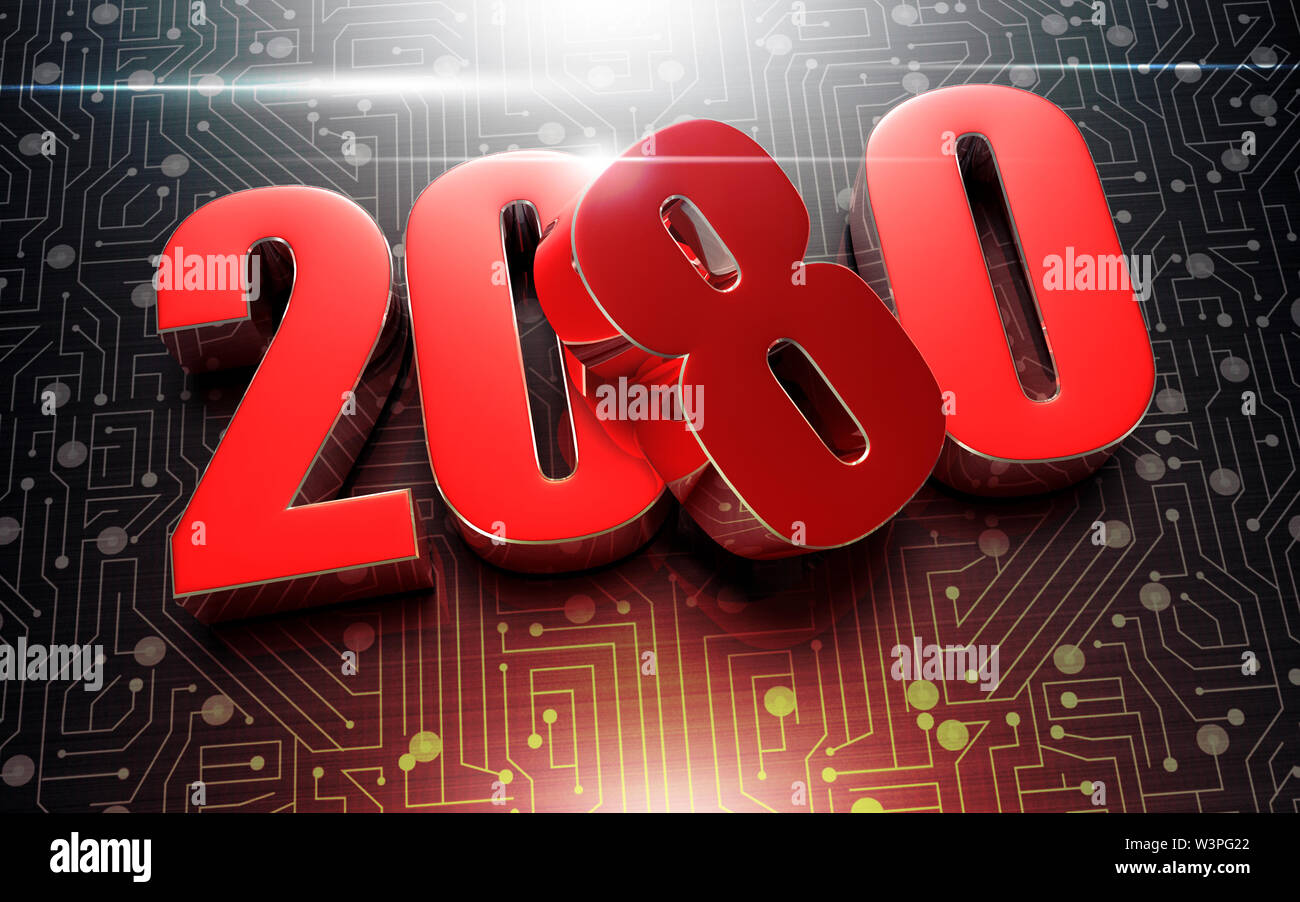 Numbers 2080 3D rendering placed on the black electronic circuit. - Stock Image