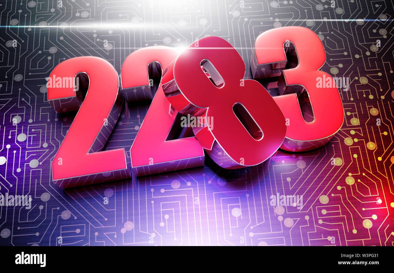 Numbers 2283 3D rendering placed on the black electronic circuit. - Stock Image