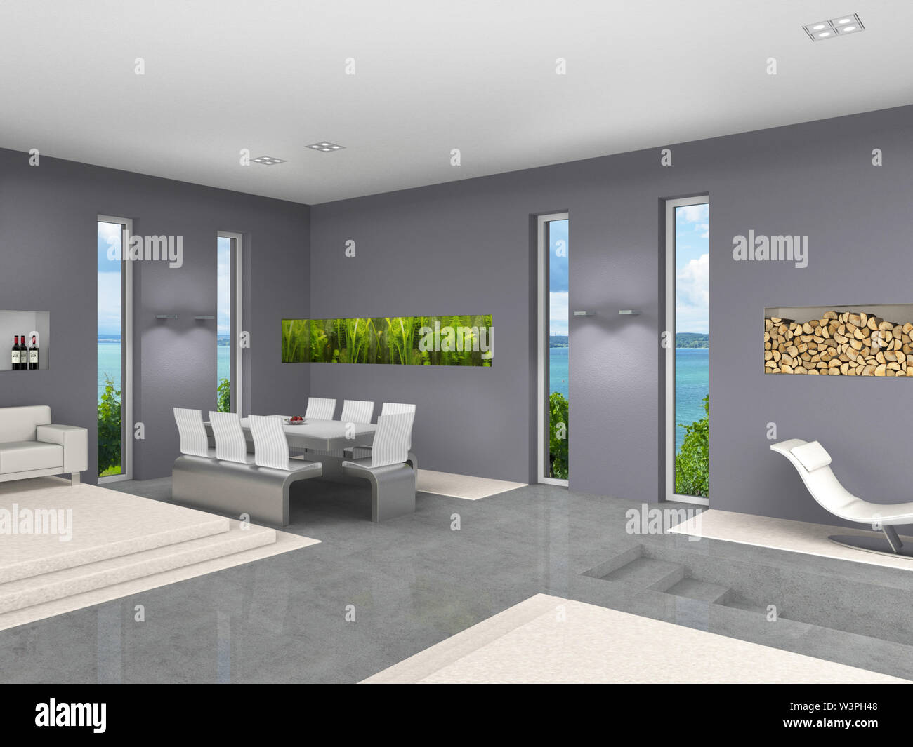 Modern Interior Design With Open Living And Dining Room Aquarium And Upright Windows Stock Photo Alamy