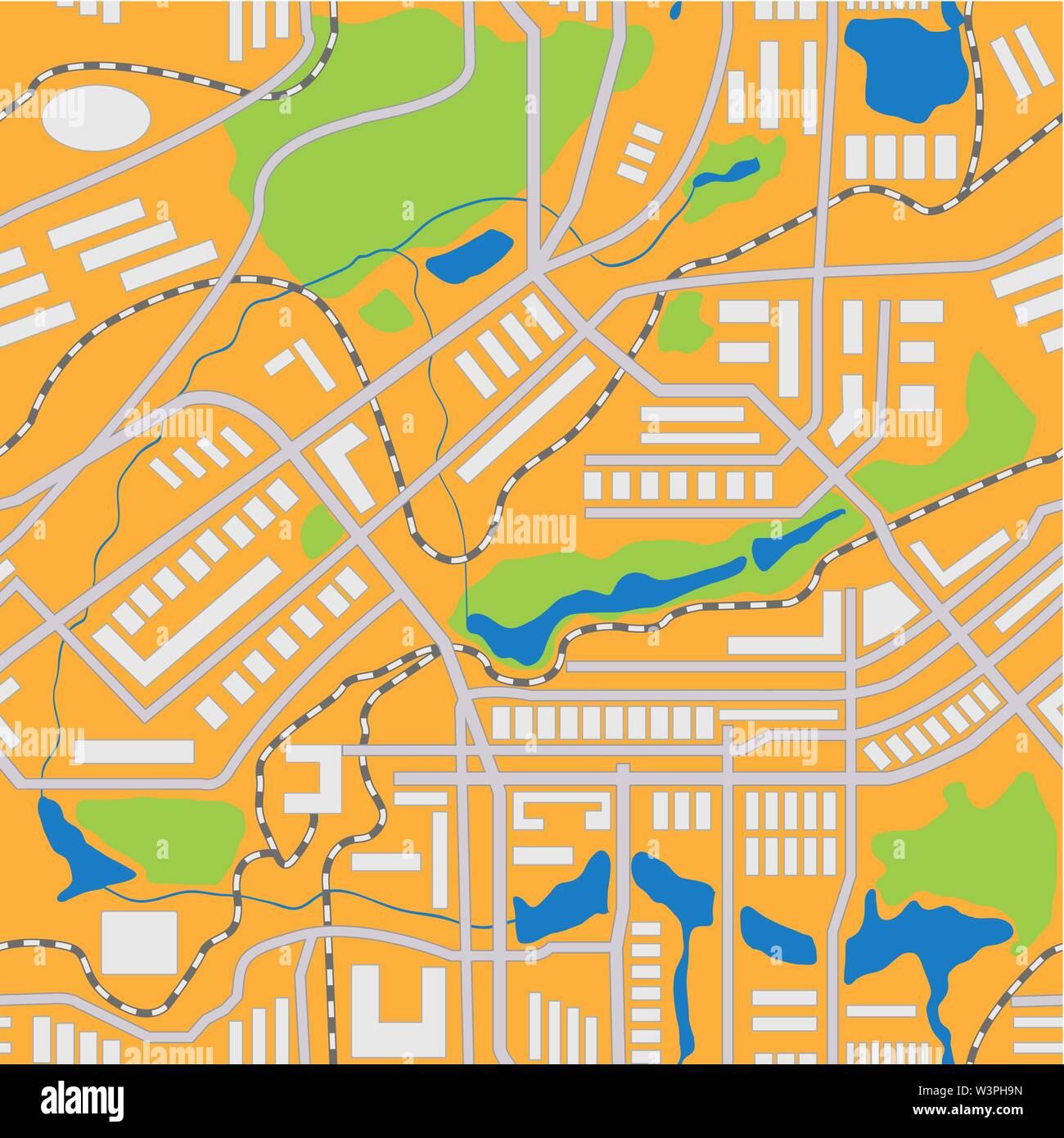City map seamless pattern. Vector illustration - Stock Vector
