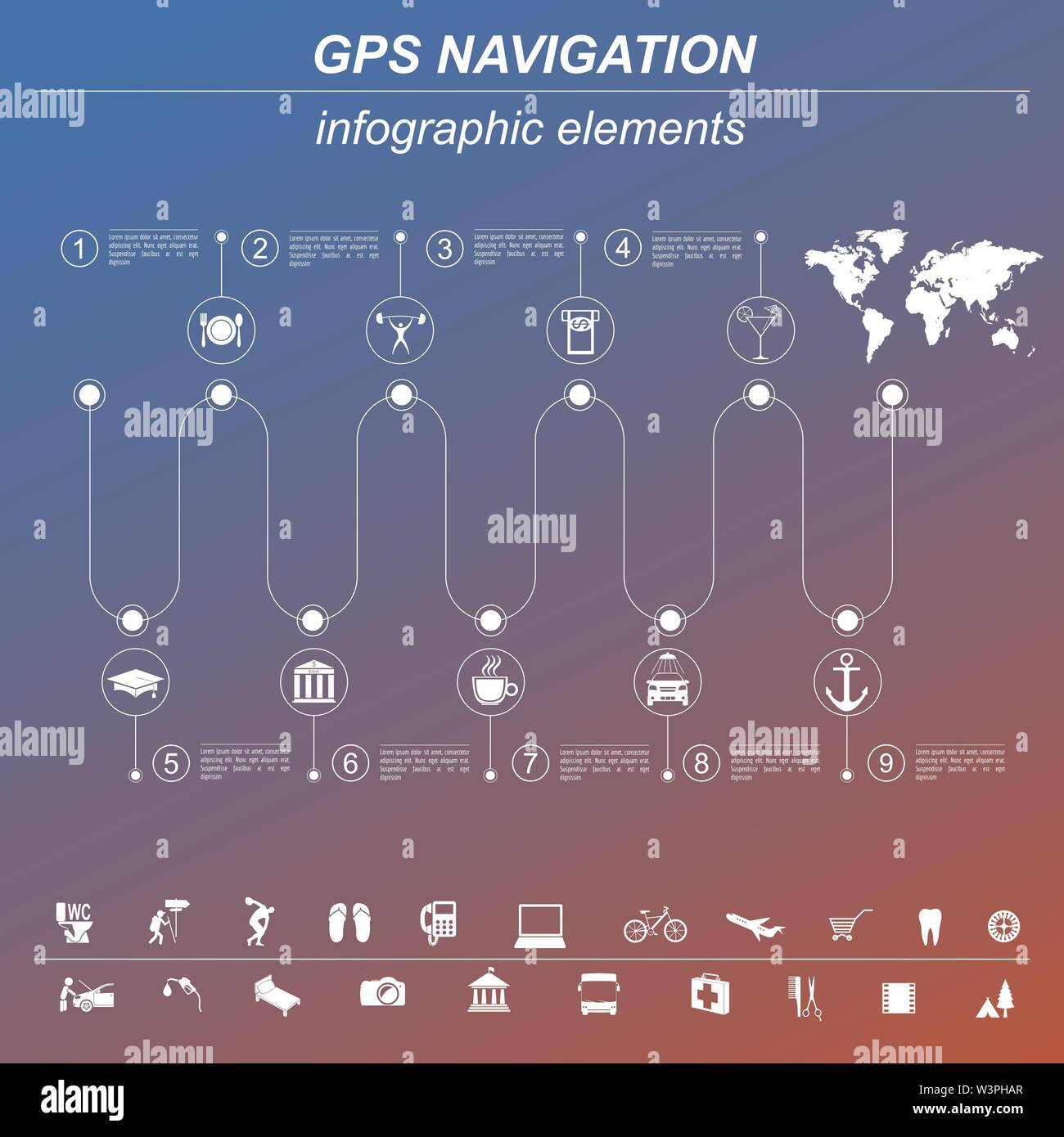 Global Positioning System, navigation. Infographic template. Vector illustration - Stock Vector