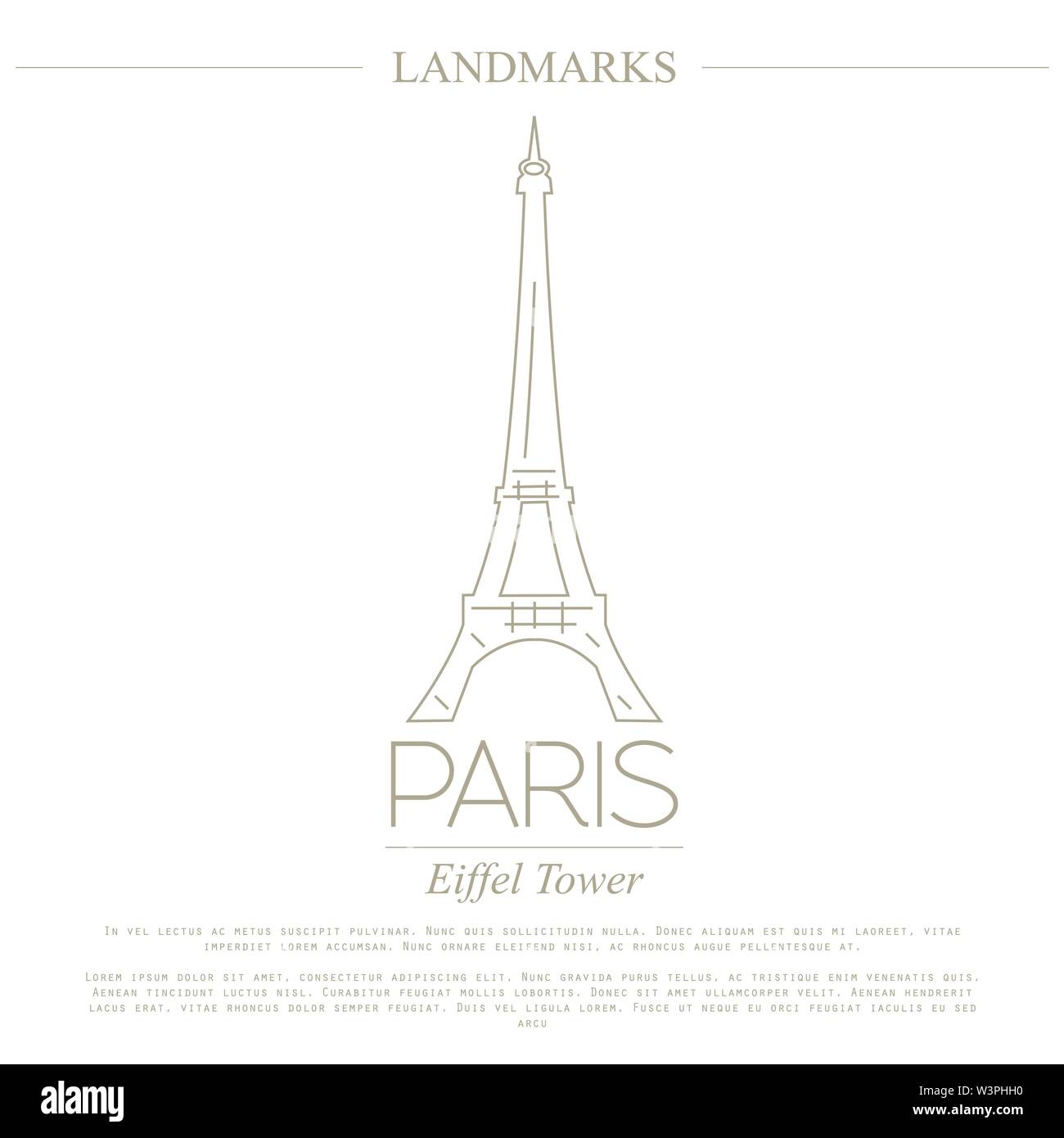 World landmarks. Paris. France. Eiffel tower. Graphic template. Logos and badges. Linear design. Vector illustration - Stock Image