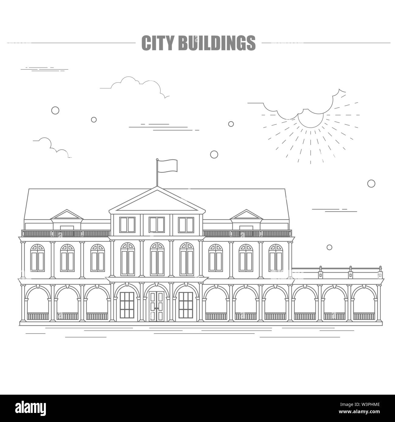 City buildings graphic template. Suriname. Vector illustration - Stock Image