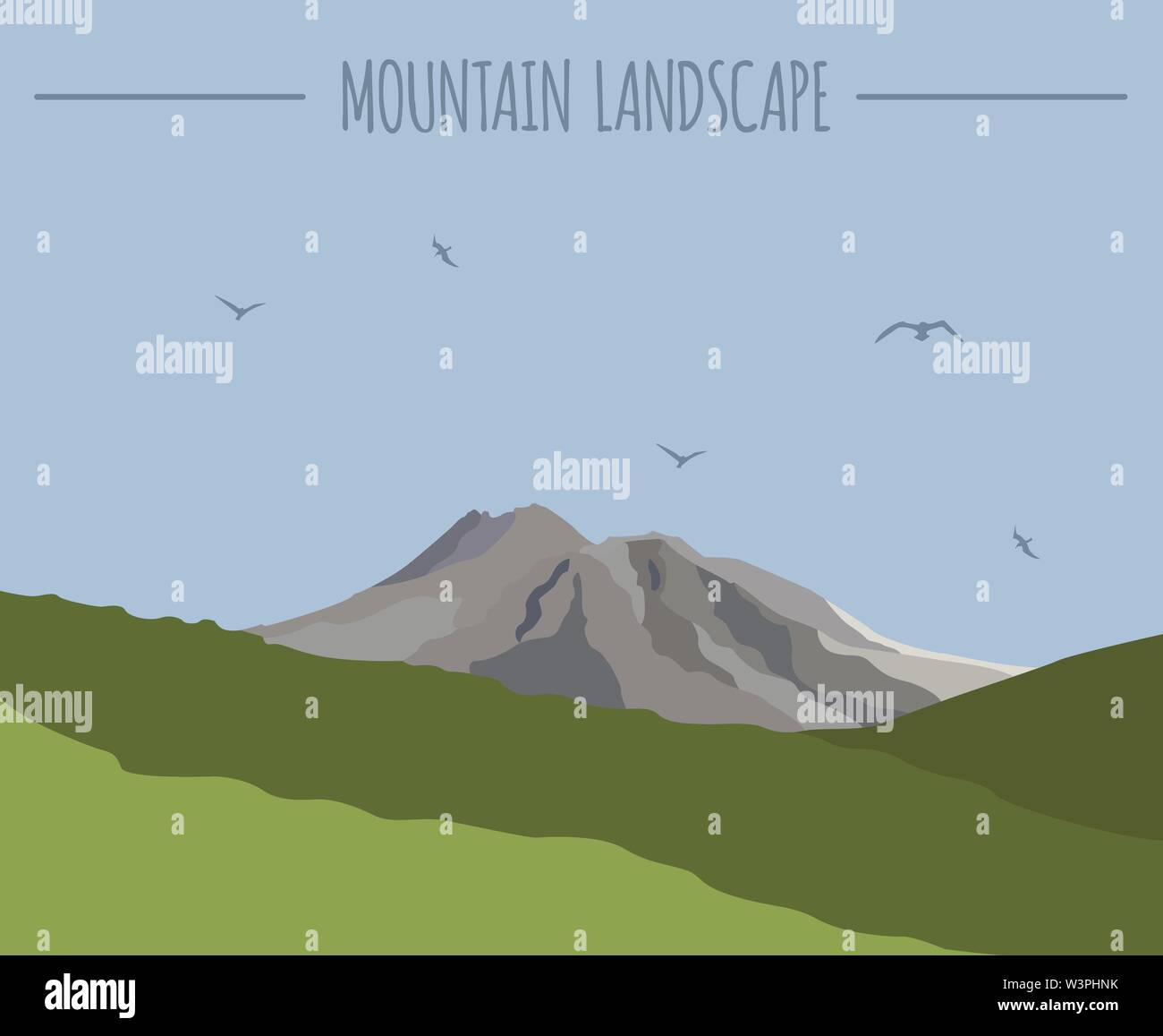 Mountain landscape graphic template. Vector illustration - Stock Image