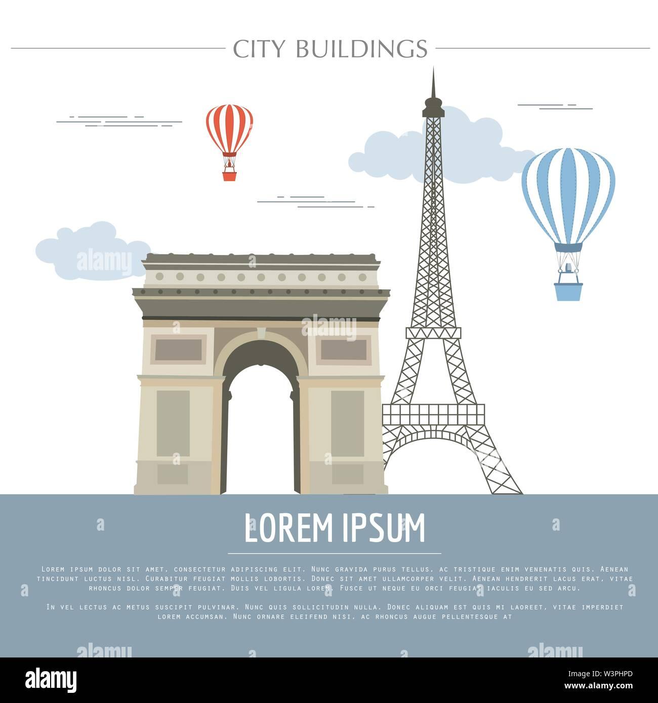 City buildings graphic template. France. Paris. Vector illustration - Stock Image