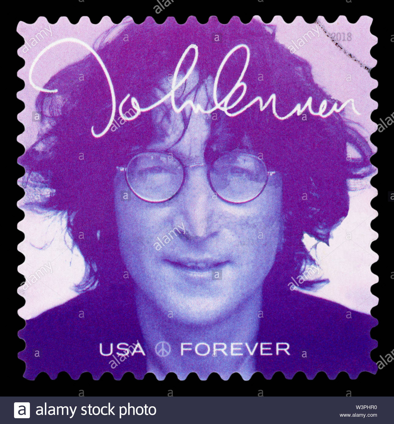 UNITED STATES OF AMERICA - CIRCA 2018: A stamp printed in USA shows John Winston Ono Lennon (1940-1980), series Music Icons, Forever, 2018. - Stock Image