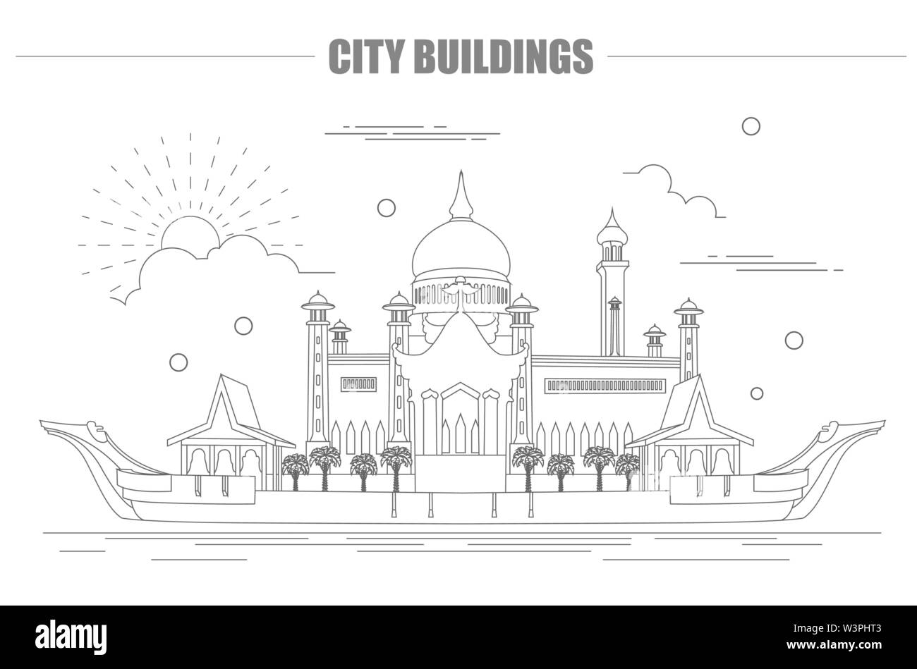 City buildings graphic template. Sultan Omar mosque. Brunei. Vector illustration - Stock Image