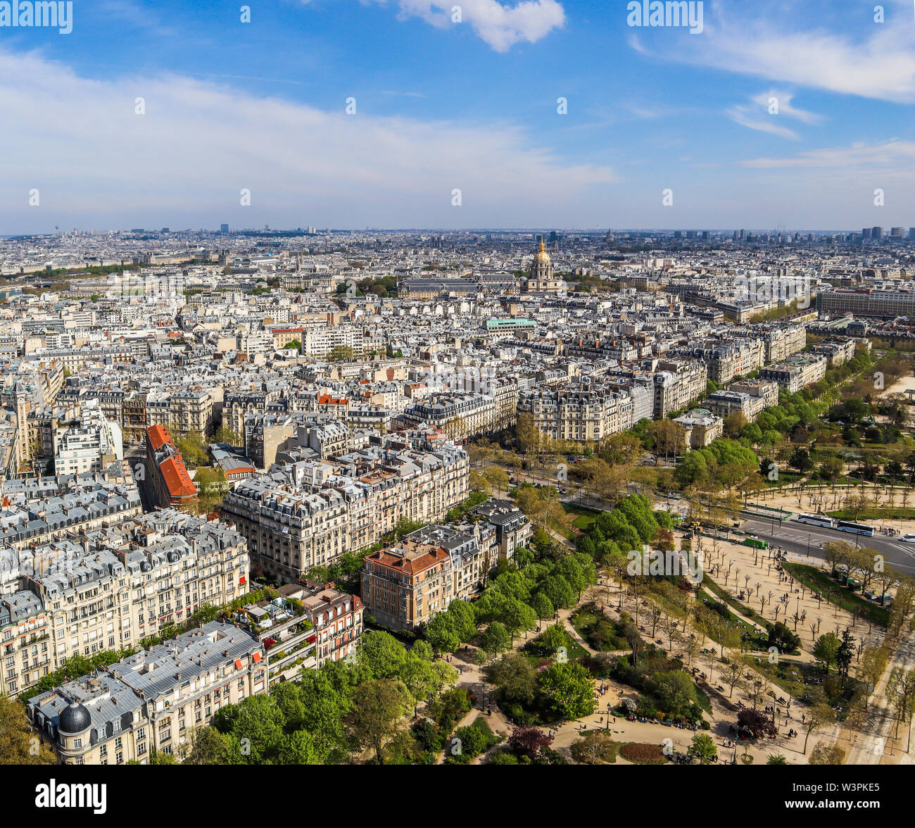 Aerial view of Paris city from Eiffel Tower. France. April 2019 - Stock Image