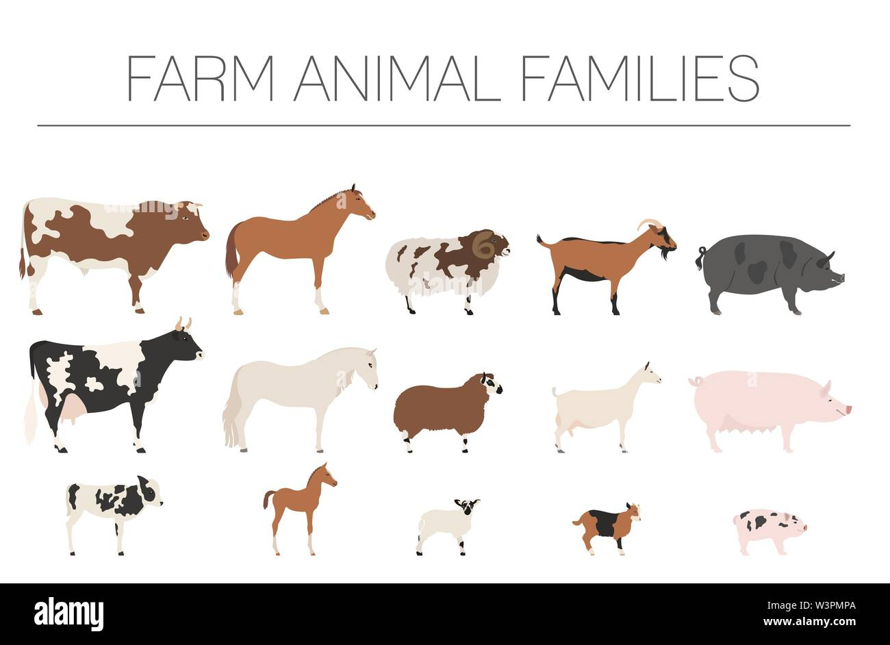 Farm animall family collection. Cattle, sheep, pig, horse, goat icon set. Flat design. Vector illustration - Stock Image