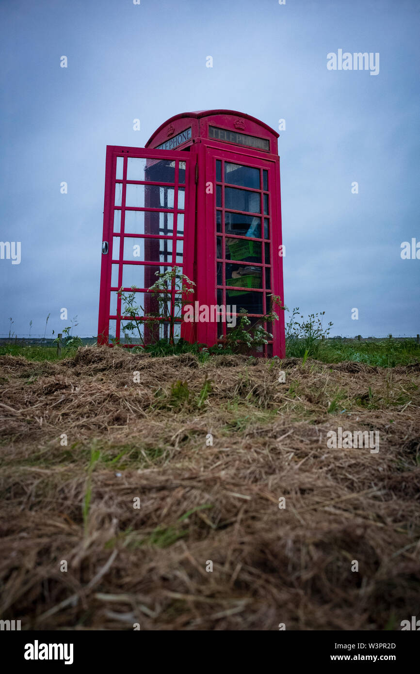 A red telephone box, for a public telephone designed by Sir Giles Gilbert Scott, appears to be in the middle of nowhere, in Huna, Scotland. - Stock Image