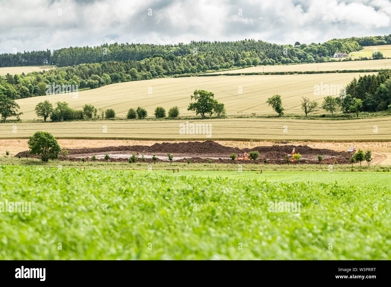 Ancrum, Jedburgh, Scottish Borders, UK. 11th July 2019. A pond being dug on arable farmland in the Scottish Borders. - Stock Image