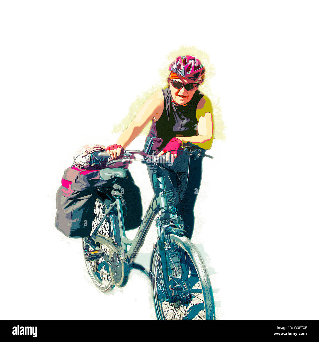 Digitally enhanced image of a Fatigued cyclist pushes her bike up the steep climb to Guarda, Switzerland Model release available - Stock Image