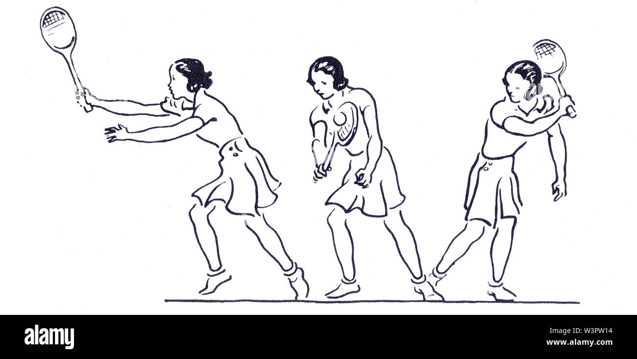 backhand illustrations (from right to left) from Lawn Tennis. May I Introduce you? How to play tennis book by Evelyn Dewhurst with sketches by Aubrey - Stock Image