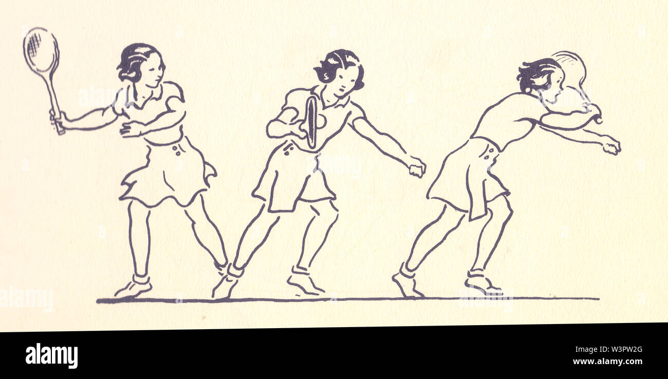 Forehand illustrations from Lawn Tennis. May I Introduce you? How to play tennis book by Evelyn Dewhurst with sketches by Aubrey Weber. Published in L - Stock Image
