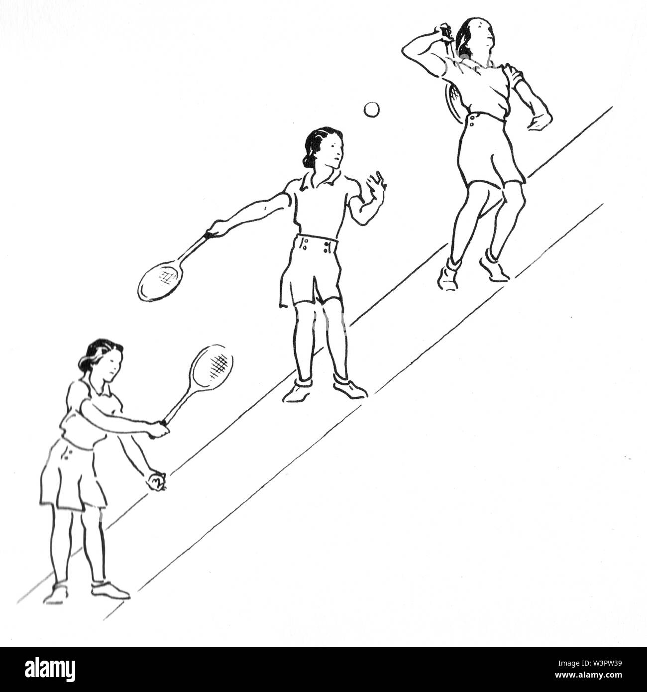 Serving illustrations from Lawn Tennis. May I Introduce you? How to play tennis book by Evelyn Dewhurst with sketches by Aubrey Weber. Published in Lo - Stock Image